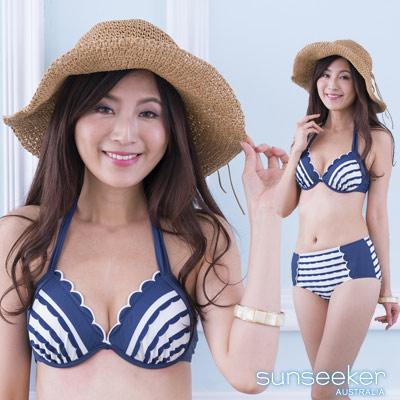 澳洲Sunseeker泳裝復古織花條紋鋼圈高腰比基尼兩件式