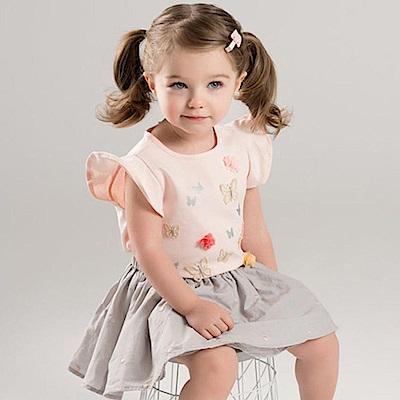 Dave Bella 粉色蝴蝶造型上衣+藕色紗裙短裙套裝2件組