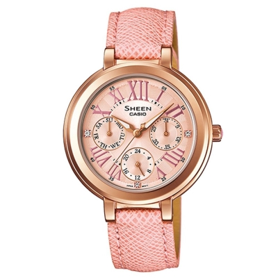 SHEEN 完美閃耀施華洛世奇皮帶腕錶(SHE-3034GL-4A)-粉紅X玫瑰金框/34mm