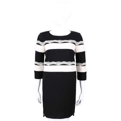 CLASS roberto cavalli 黑色條紋蕾絲拼接七分袖洋裝