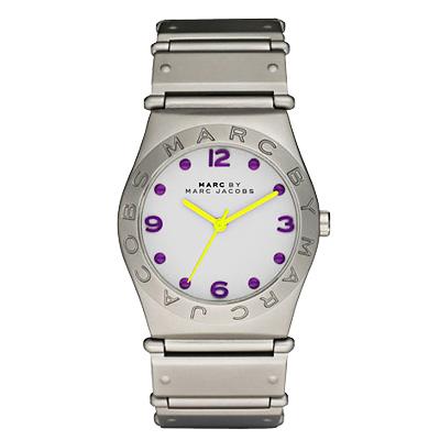Marc Jacobs 色彩潮流時尚腕錶-銀白/36mm