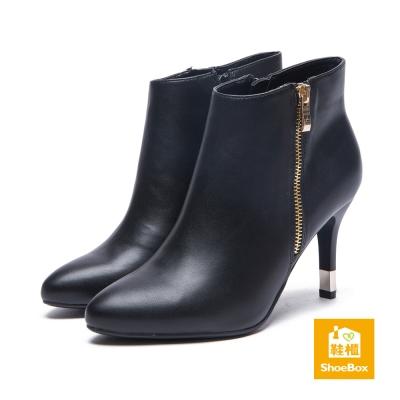 鞋櫃ShoeBox-短靴-皮革感側拉鍊尖頭細高跟踝靴-黑