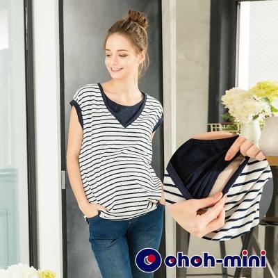 ohoh-mini 孕婦裝 純棉條紋束口居家孕哺上衣-2色