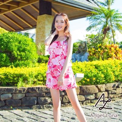 【Angel Luna日本泳裝】荷葉邊收腰連身褲三件式比基尼泳衣-印花粉