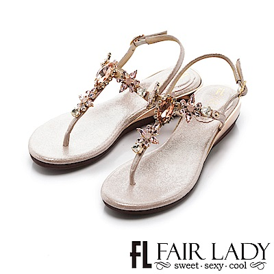 Fair Lady 璀璨迷人水鑽寶石楔型涼鞋 粉