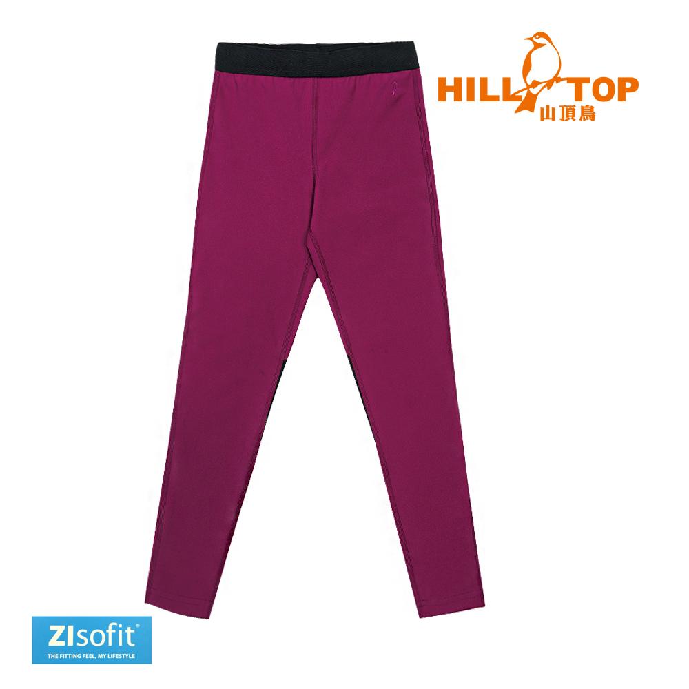 【hilltop山頂鳥】童款吸濕排汗抗UV彈性內搭褲S07C04-果醬紫