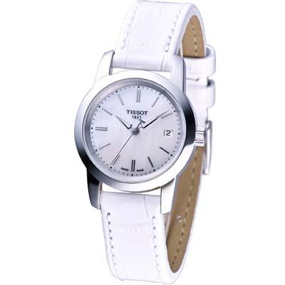 TISSOT CLASSIC DREAM 經典素面皮帶女錶(白)-28mm