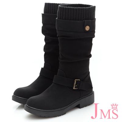 JMS-百搭首選抓皺皮帶扣環中靴-黑色