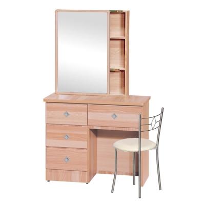 品家居 米俄3尺木紋化妝鏡台含椅(五色可選)-91x40x173cm-免組