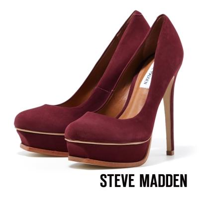 STEVE-MADDEN-厚底圓頭高跟鞋-奢華酒紅