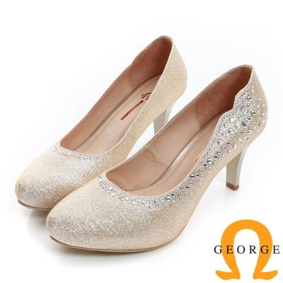 GEORGE-水鑽拼貼花朵造型真皮中跟鞋(婚鞋)-深金色
