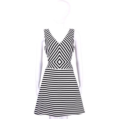 Michael Kors 黑白條紋V領腰簍空設計無袖洋裝