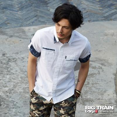 BIG TRAIN 素色配迷彩五分袖襯衫-男-白色