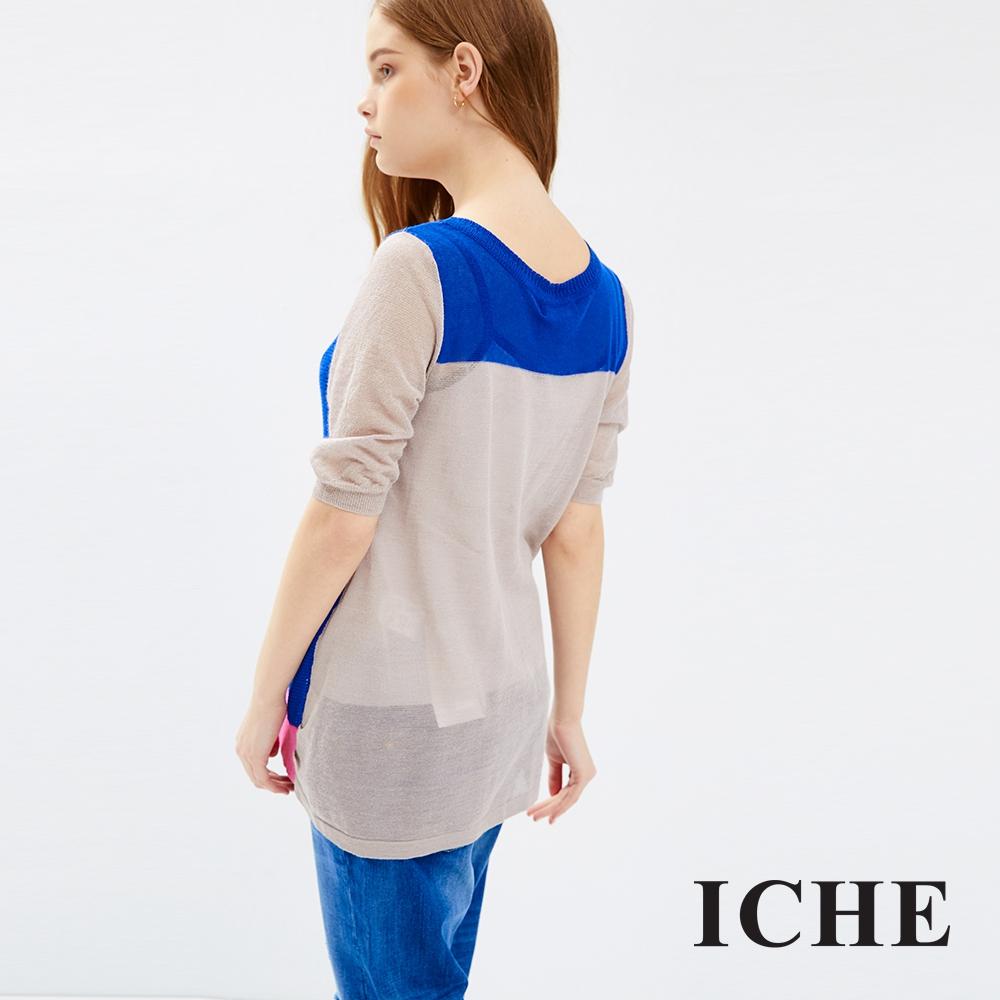 ICHE 衣哲 對比撞色針織外套