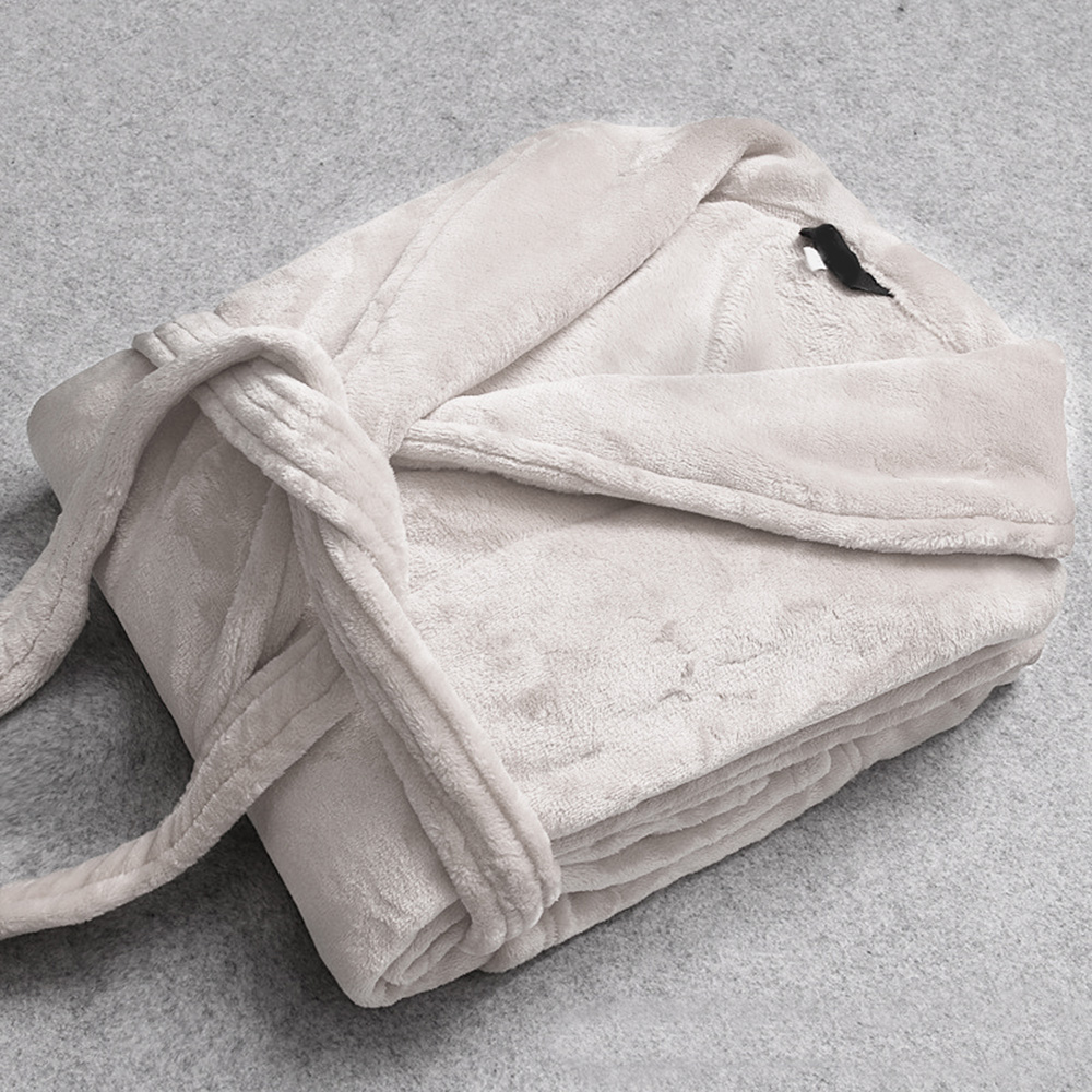 極厚珊瑚絨x法蘭絨雙面親膚日式睡袍 浴袍