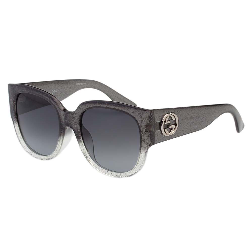GUCCI太陽眼鏡 經典粗版雙G (銀蔥漸層灰)