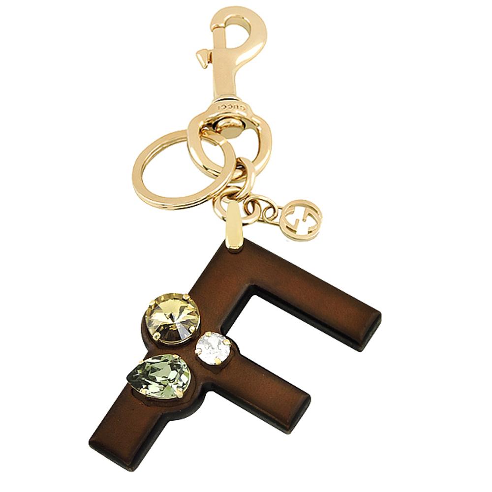 GUCCI 字母「F」水晶鑲嵌鑰匙圈
