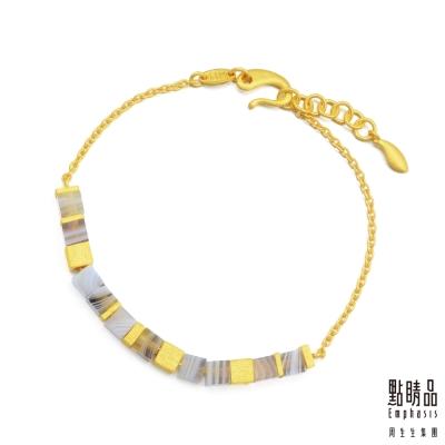 點睛品 G系列 時尚方形幾何瑪瑙純金手鍊