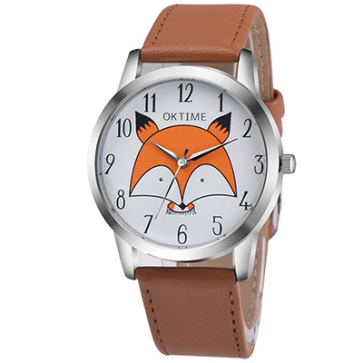Watch-123 狐狸表白-時光中的童趣學生時尚手錶-淺咖/37mm