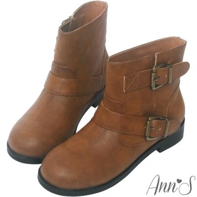 Ann'S復古擦色古銅雙帶圓頭平底短靴-棕