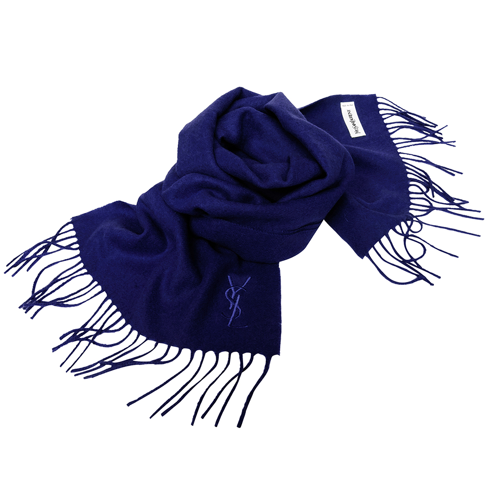 YSL Saint Laurent素面純羊毛/CASHMERE混紡圍巾(寶藍)