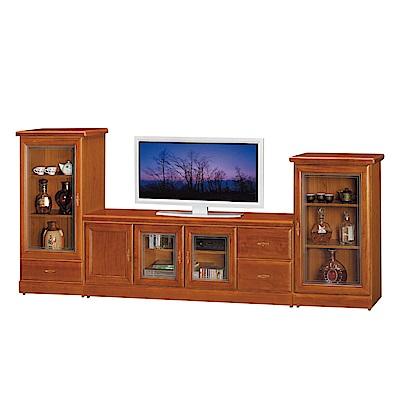 品家居 查雅9.3尺樟木紋電視櫃組合(長櫃+展示櫃)-278x45x120cm免組
