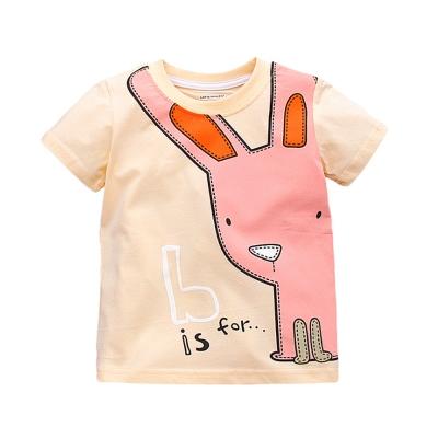 上衣 女童 粉嫩卡通兔 歐美經典兒童純棉短袖T恤