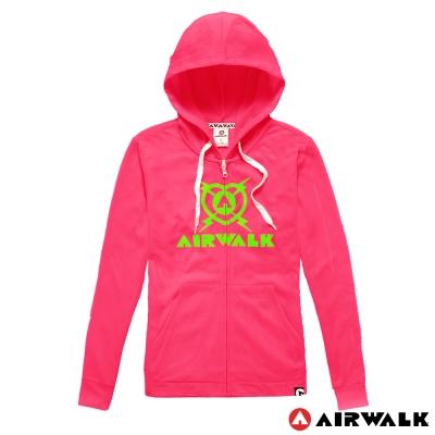 AIRWALK-女-休閒連帽繽紛針織外套-螢粉
