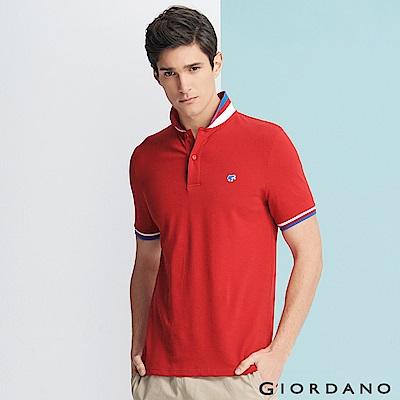 GIORDANO 男裝青蛙圖案素色POLO衫-83 高貴紅