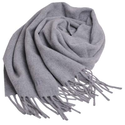 DAKS 經典品牌字母LOGO刺繡義大利製羊毛圍巾(灰)