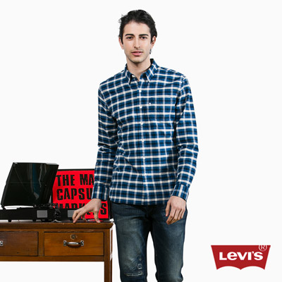 Levis-男款藍黑拚色純棉長袖格紋襯衫