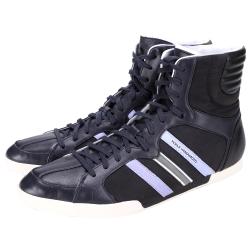 Y-3 深藍x黑色拼接設計高筒綁帶休閒鞋(展示品)