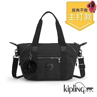 Kipling 手提包 質感條紋黑-小