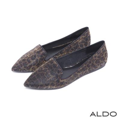 ALDO-悠閒北歐LADY黑色包框尖頭樂福鞋-濃郁豹紋