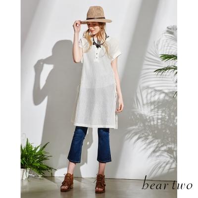 beartwo-自然刷白修身小喇叭牛仔褲-深藍