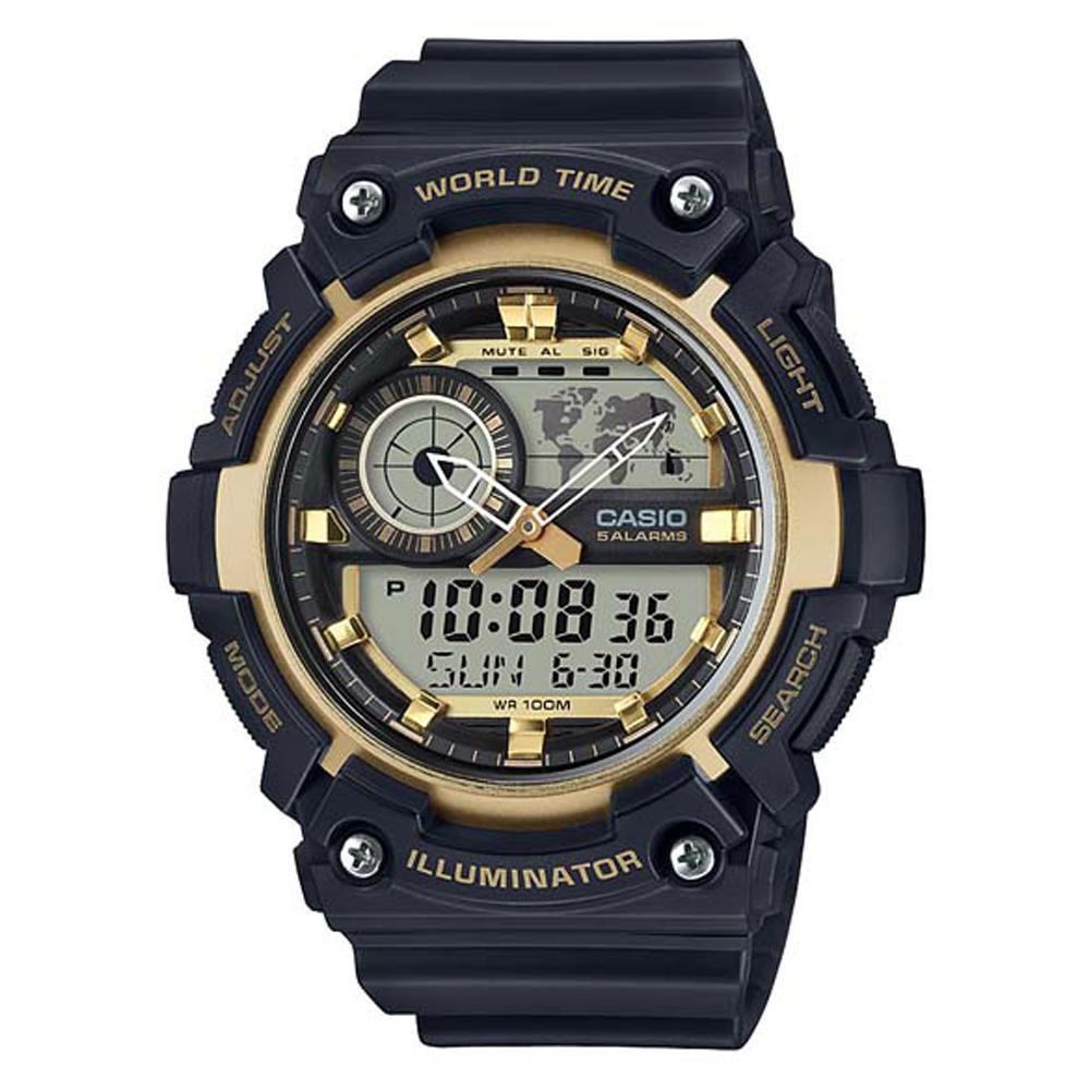 CASIO 世界地圖時間設計雙顯運動錶(AEQ-200W-9A)-黑X金框51.4mm