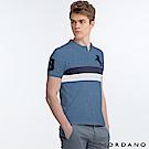 GIORDANO 男裝拿破崙刺繡徽章彈力棉POLO衫 - 05 花紗藍色