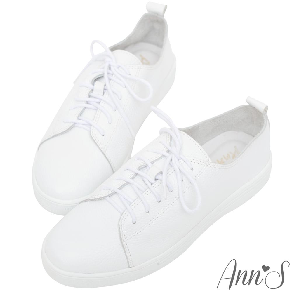 Ann'S第二代超軟真牛皮綁帶小白鞋-白