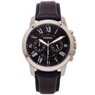 FOSSIL  羅馬優雅風計時的皮帶手錶(FS4812IE)-黑面/44mm