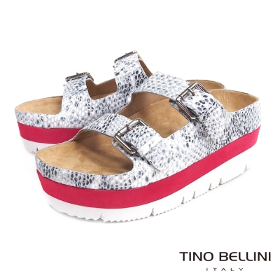 Tino Bellini 摩登潮味雙釦厚底涼拖鞋_蛇紋白