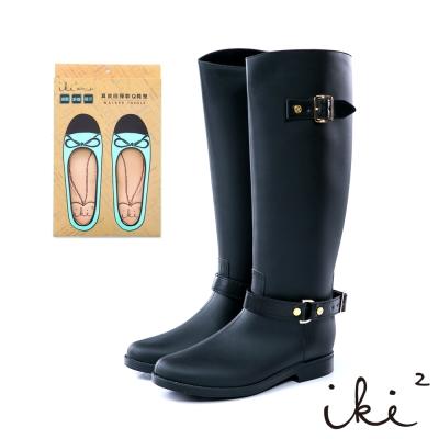iki2經典百搭時尚長雨靴-黑