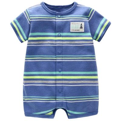 Carters 美國 藍綠條紋短袖包屁衣連身衣