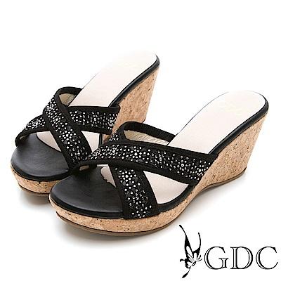GDC-交叉水鑽楔型木頭質感鞋底拖鞋-黑色