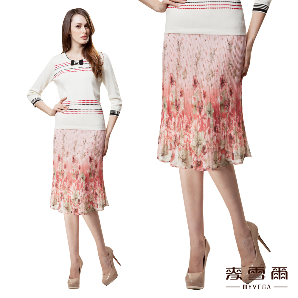 麥雪爾獨特漸層印花柔美雪紡五分短裙