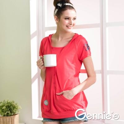 Gennie's奇妮-海軍風假兩件春夏哺乳上衣(GNA82)-橘紅