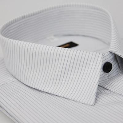 金‧安德森 白底領直紋門襟橫紋短袖襯衫