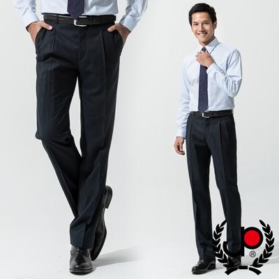 【極品西服】-商務質男仿毛條紋款雙摺西褲_藍(BS539-2)