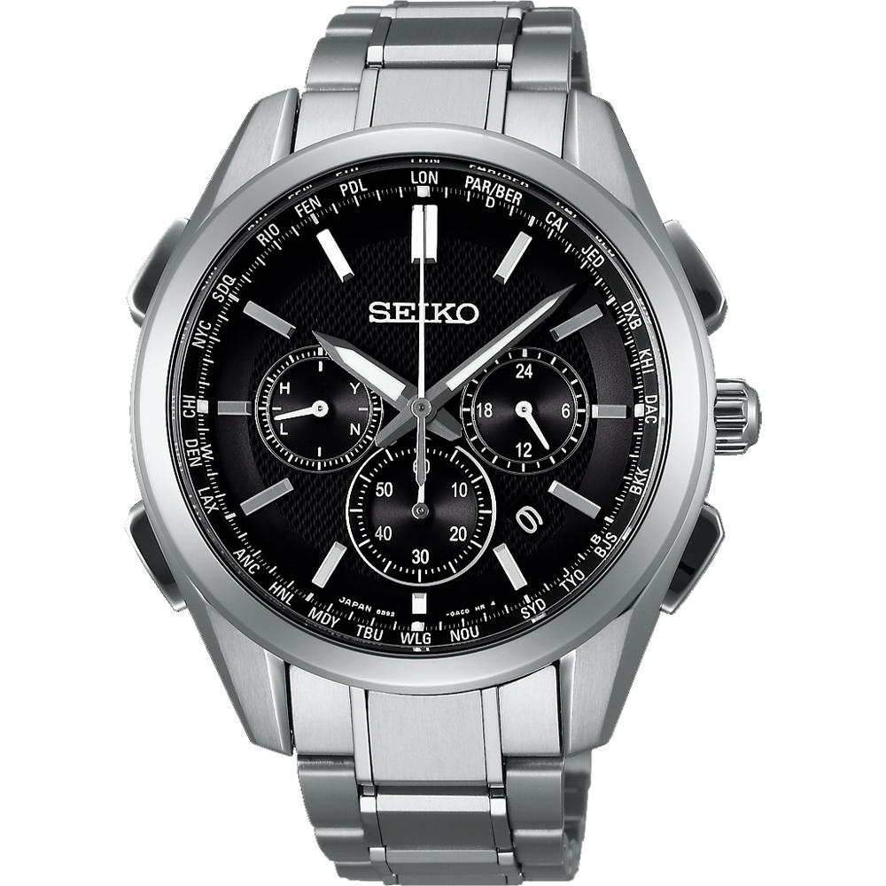 SEIKO Brightz 鈦金屬計時太陽能電波腕錶(SAGA197J)-黑/43mm