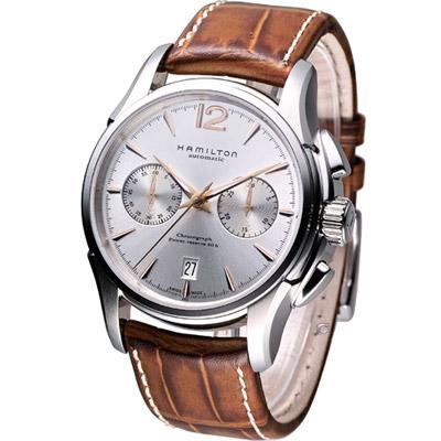 HAMILTON Jazzmaster 計時機械腕錶-銀白色/42mm