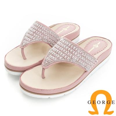 GEORGE 喬治-舒適系列 水鑽裸膚透感夾腳涼拖鞋(女)-粉色